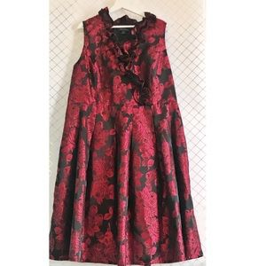 Red Floral Dress with Ruffled Neckline and Roses